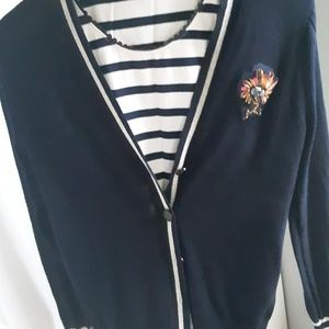 JCrew cardigan with shell tank top LIKE NEW